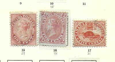 Canada stamps 1859 Collection of 3 CLASSIC stamps CANC VF HIGH VALUE!