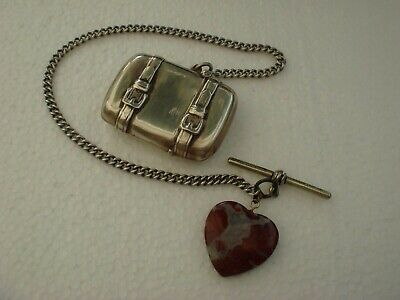 Solid Sterling Silver Hallmarked Luggage Suit Case Trunk Vesta Case On Fob Chain