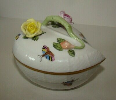Herend Hungary Hand painted Porcelain Trinket box Roses,  bugs  Birds 6003 3.5""