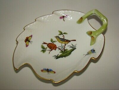 """Herend Hungary Hand painted Porcelain Leaf Dish 205 RO 5 3/4"""""""