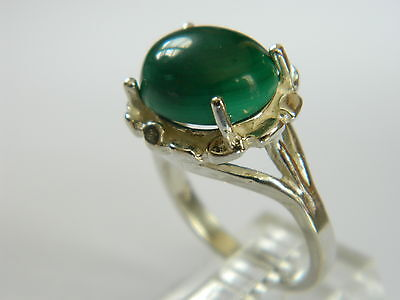 Classy Sterling Silver Ring  With Green Cabochon  Size  5