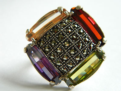 Gorgeous  Sterling Silver Ring Multicolor Cz And Narcasite Stones #857  Size 6