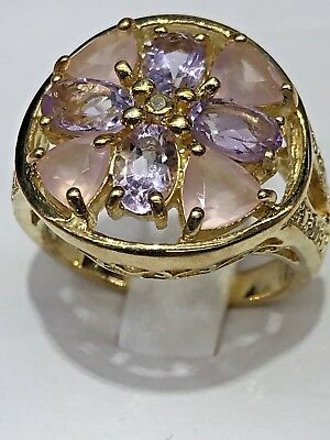 WONDERFUL STERLING SILVER GOLD PLATED RING  With Amethyst And Lavender Stone