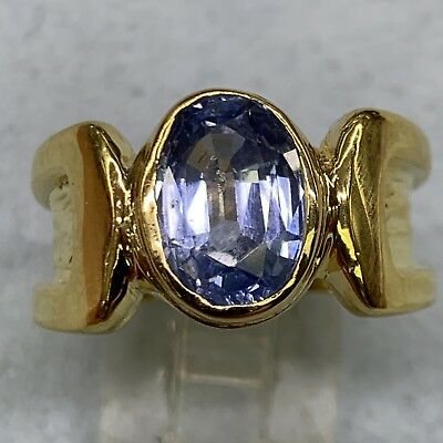 14K Yellow Gold Blue Topaz Promise Ring Size 6 #3974