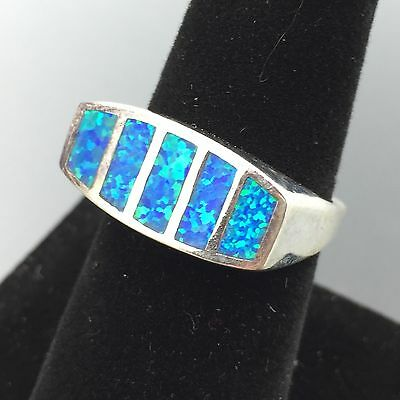 Sterling Silver Blue Opal Doublet Inlay Geometric Ring Size 7.25 #3306