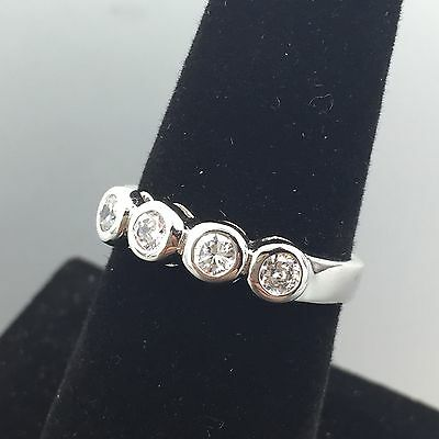 Sterling Silver High Quality Clear Cubic Zirconia 4 Stone Ring Size 7 #3416