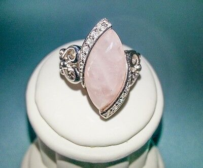 Beautiful Sterling Silver Marky Shape Ring With Huge Pink Quarts Size 6.5#983