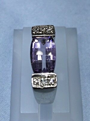 DAZZLING  STERLING SILVER  RING WITH Amethyst AND WHITE CZ #3640 SIZE  7