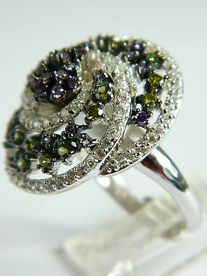 Gorgeous Sterling Silver Ring Multicolor Cz And Narcasite Stones  Adjustable#915
