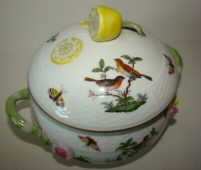 Herend Hungary Hand painted Porcelain Covered Bowl Lemon & Roses Birds & Bugs