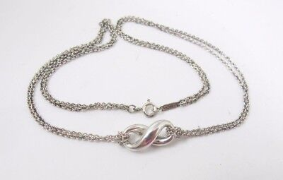 Tiffany & Co. Sterling Silver Infinity Necklace Double Chain Comes With Pouch