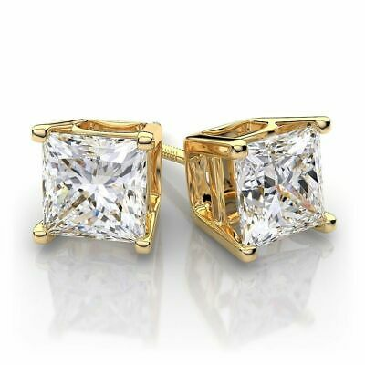 1.00 ct Princess Cut Solitaire Stud Earrings 14k Yellow Gold Over Screw Back