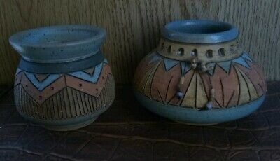 Lot of 2 Vintage Indian Art Pottery made & signed by Mary Tuttle vase, bowl