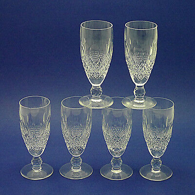 "Six Waterford Crystal 'Colleen' Champagne Flutes/Glasses - 15.25cm/6"" Tall"