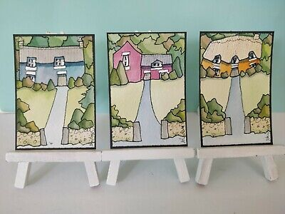 3 Original Watercolour Paintings ACEO - Set Back From The Road