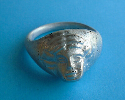 Superb Massive Ancient Roman Silver Figure Ring