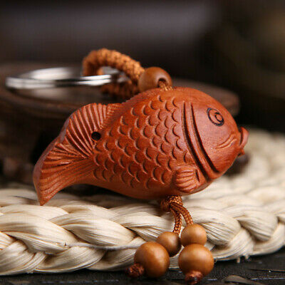 Wealth Carp Fish Wood 3D Carving Chinese Geomancy Pendant Key Chain Keyring