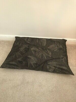 Floor Cushion Filled Black & Grey Leaf Large 3 cubic ft Size upholstery grade