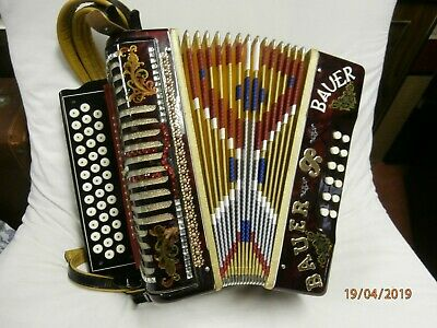 BAUER 12 bass diatonic button accordion 1940-1950 dark red marble and yellow