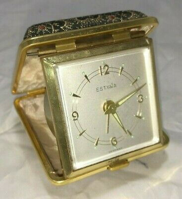 Vintage ~Estyma ~German ~Folding Travel Alarm Clock ~
