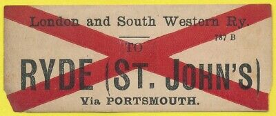 London & South Western Railway luggage label - RYDE (ST. JOHN'S) Via Portsmouth