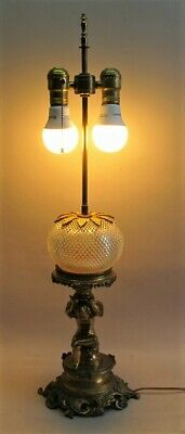 Fine FRENCH GILT BRONZE & CUT CRYSTAL Oil Lamp, Electrified  c. 1880  antique