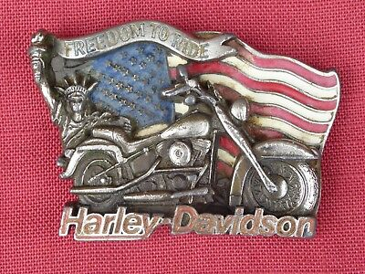 Vintage Official Freedom To Ride Harley Davidson Belt Buckle Baron 1991