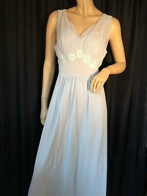 vintage Negligee nightgown S/M pinup Blue long Sissy 50s sheer Appliqué sexy