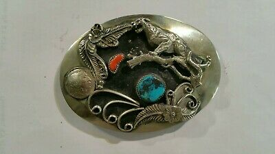 Vintage Wrap Belt Buckle Turquoise and Red  with Buffalo Nickle and  cougar