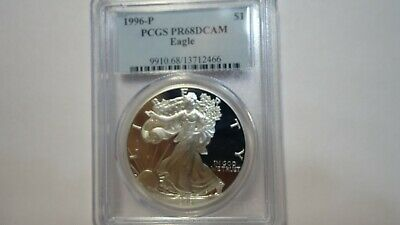 1996-P 1 oz Proof Silver Eagle PCGS PR68DCAM Beautiful Coin