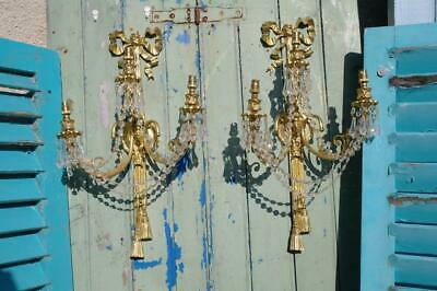 LARGE Vintage French Rococo Wall Sconces Gilded & Glass Hollywood Regency Chic