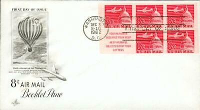 USA FDC variety 8 C. airmail booklet pane 5.12.62 cp99