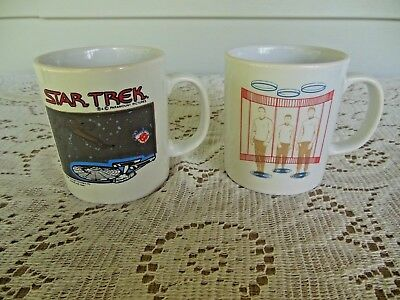 2 Vintage STAR TREK Coffee MUGS ~ 1989 Characters + USS Enterprise ~