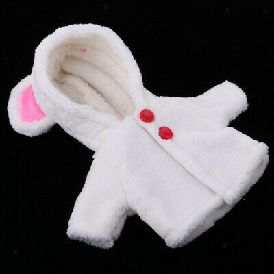 White Plush Hooded Coat with Ear Clothes for 25cm Mellchan Baby Reborn Doll