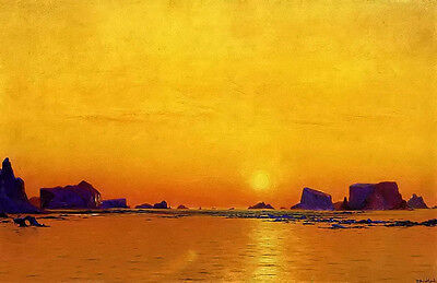 Oil painting william Bradford - ice floes under the midnight sun dusk landscape