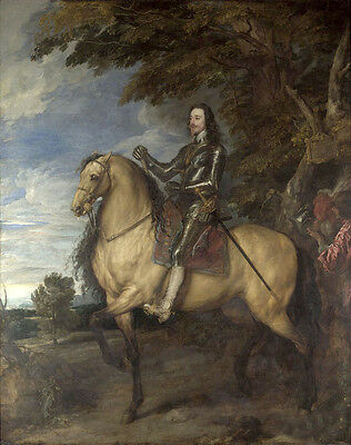 Oil painting Anthony van dyck - Equestrian Portrait of Charles I in landscape @@