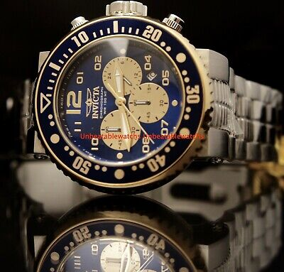 Invicta Mens Grand Pro Diver Gold-Tone Blue Dial Chronograph SS Bracelet Watch