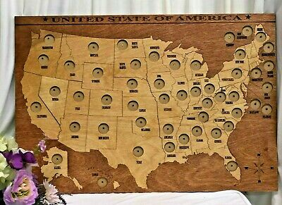 Handmade Wooden US 50 States Quarter Map, Quarter Coin Display, Coin Collection