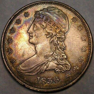 1836 Cap Bust Reeded Edge Half Dollar Very Rare Target Rainbow Anacs Ef45 Detail