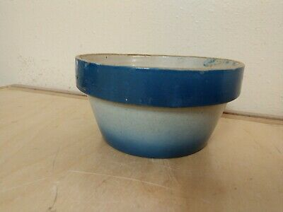 Antique Blue & White Stoneware Bail Handle Bowl Nice Condition