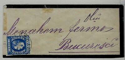 Romania; 1869, 10 Bani Blue, used single on mourning cover to Bucharest, VF