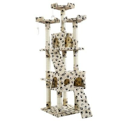 """67"""" Cat Tree Tower Condo Furniture Kitten House Scratching Bed Play Beige & Paws"""