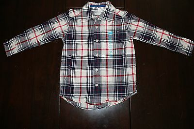 NEW Toddler Boys Christmas Woven Plaid Dress Long Sleeve Collared Shirt 4T 4 XS