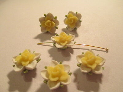 99 Jaune et Blanc Water Lilly 15mm Fimo Perles Fleur Last Lot Ywl