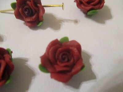 50~13 MM Rouge Fimo Clay Fleur & Feuilles Perles 04Z