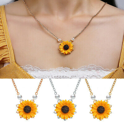 Creative Pearl Necklace Temperament Fashion Sunflower Pendant Gift Jewelry US