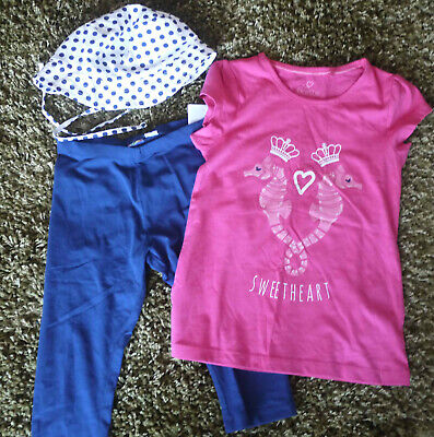 BNWOT Lupilu Girls Summer Hat Top legging Set Outfit Age 5-7 PERFECT FOR HOLIDAY