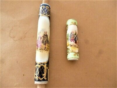 Lot De 2 Ancien Element Pommeau De Canne Ombrelle  Walking Stick Porcelaine