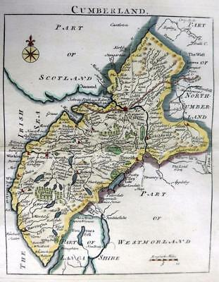 CUMBERLAND PENRITH KESWICK  BY JOHN ROCQUE GENUINE COPPER ENGRAVED MAP  c1769