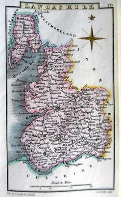 LANCASHIRE LANCASTER  BY LEIGH / HALL HAND COLOUR GENUINE ANTIQUE MAP  c1826